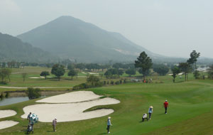 view towards mountains, tam dao golf resort, hanoi, vietnam